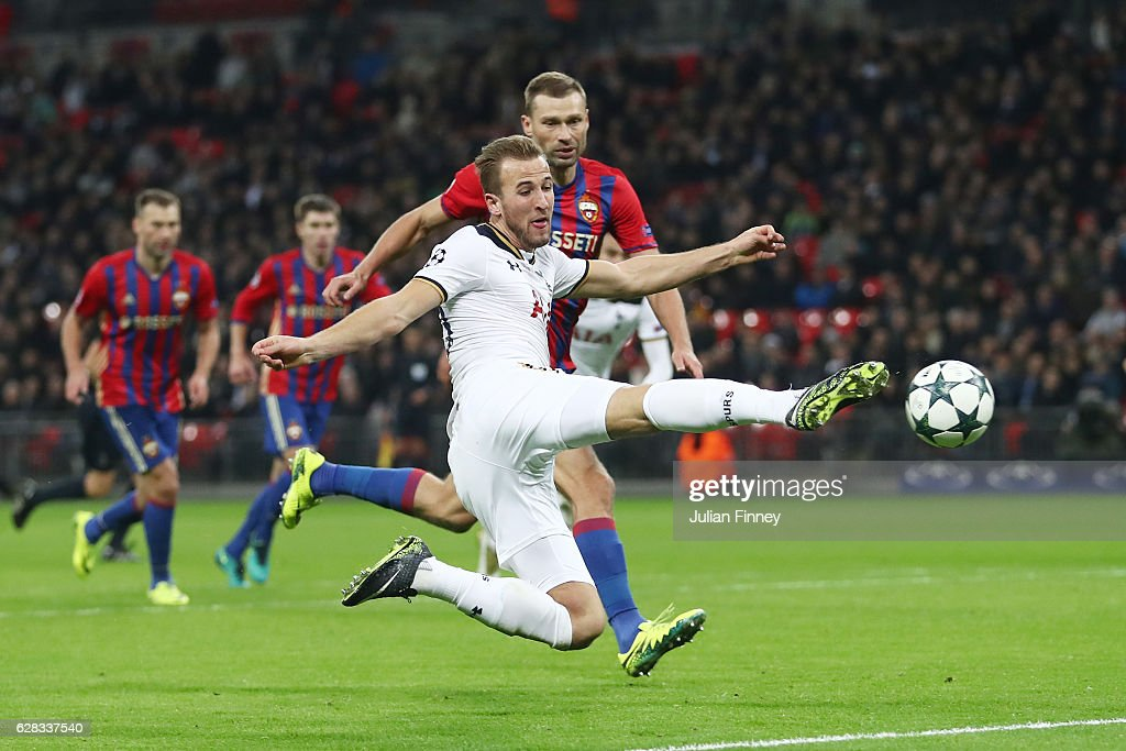 Harry Kane of Tottenham Hotspur volleys towards goal during the UEFA Champions League Group E match between Tottenham Hotspur FC and PFC CSKA Moskva at Wembley Stadium on December 7, 2016 in London, England.