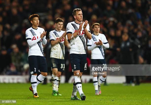 Harry Kane of Tottenham Hotspur walks off dejected after the Barclays Premier League match between West Ham United and Tottenham Hotspur at Boleyn...