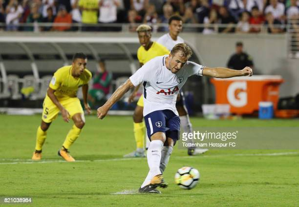 Harry Kane of Tottenham Hotspurs scores on a penalty kick in the second half against Paris SaintGermain during a International Champions Cup 2017...
