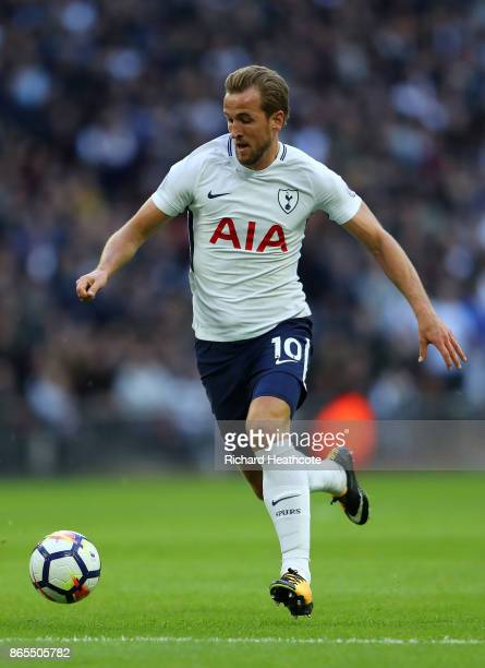 Harry Kane of Tottenham in action during the Premier League match between Tottenham Hotspur and Liverpool at Wembley Stadium on October 22 2017 in...