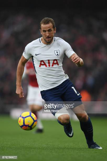 Harry Kane of Tottenham in action during the Premier League match between Arsenal and Tottenham Hotspur at Emirates Stadium on November 18 2017 in...