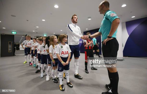 Harry Kane of Tottenham prepares to walk out prior to the Premier League match between Tottenham Hotspur and AFC Bournemouth at Wembley Stadium on...