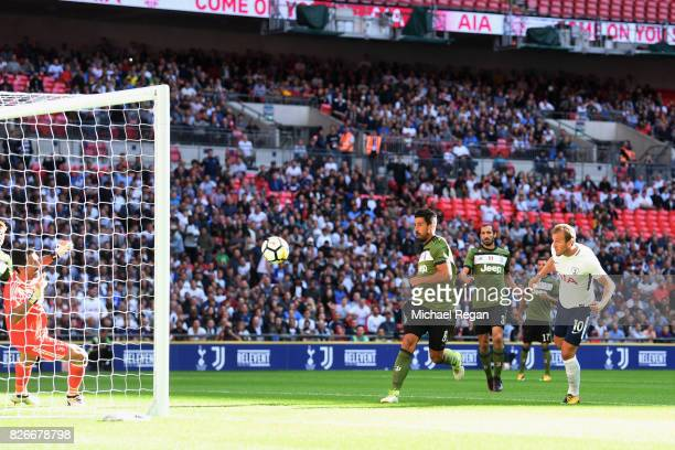 Harry Kane of Tottenham scores to make it 10 during the preseason match between Tottenham Hotspur and Juventus at Wembley Stadium on August 5 2017 in...