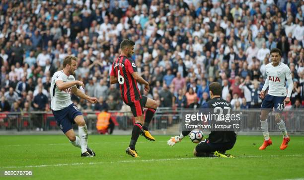 Harry Kane of Tottenham shoots at goal during the Premier League match between Tottenham Hotspur and AFC Bournemouth at Wembley Stadium on October 14...