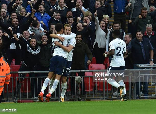 Harry Kane Scores the fourth for Tottenham and Celebrates during the Premier League match between Tottenham Hotspur and Liverpool at Wembley Stadium...