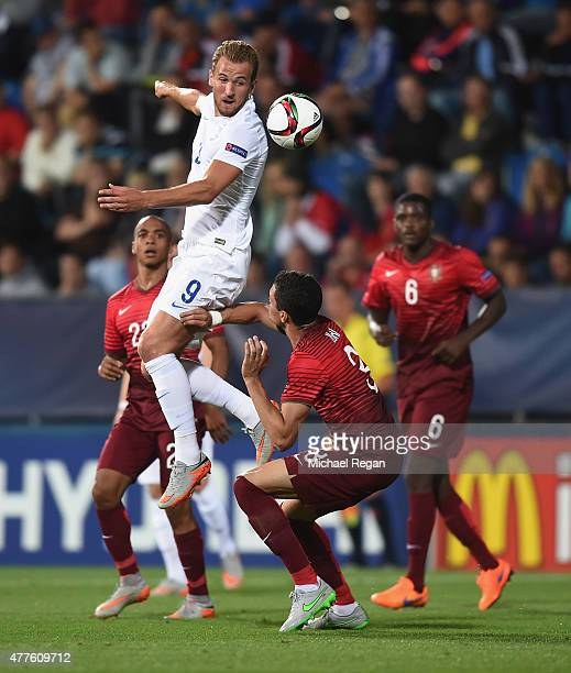Harry Kanei of England in action with Tiago Ilori of Portugal during the UEFA Under21 European Championship 2015 Group B match between England and...