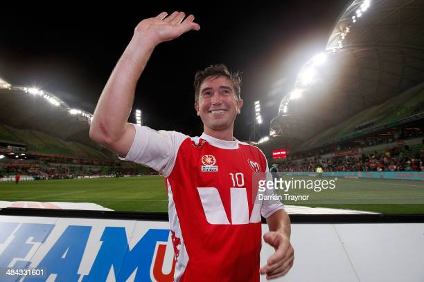 Harry Kewell acknowledges the fans in his fianl professional match after the round 27 ALeague match between Melbourne Heart and the Western Sydney...