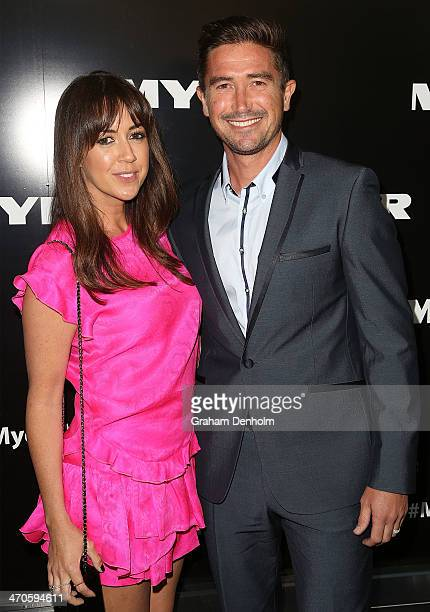 Harry Kewell and his wife Sheree Murphy arrive at the Myer Autumn Winter 2014 Fashion Launch at Myer Mural Hall on February 20 2014 in Melbourne...