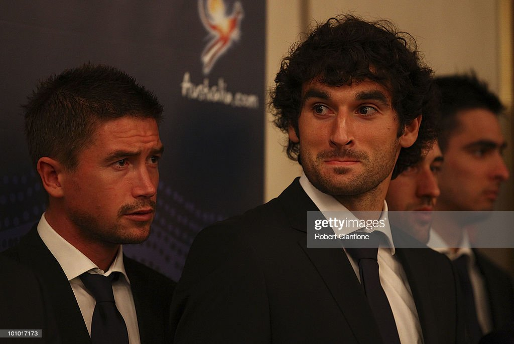 Harry Kewell and Mile Jedinak are seen during an Australian Socceroos welcome function at the Sandton Sun Hotel on May 27, 2010 in Sandton, South Africa.