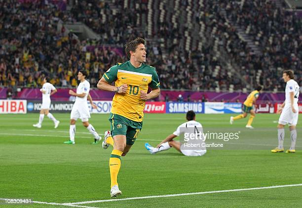 Harry Kewell of Australia celebrates his goal during the AFC Asian Cup Semi Final match between Uzbekistan and the Australian Socceroos at Khalifa...