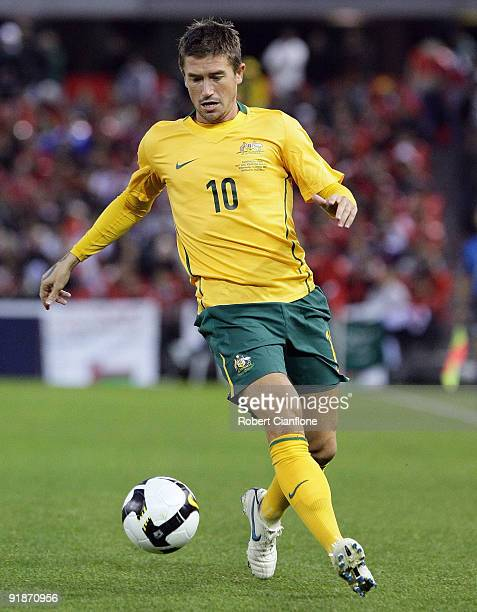 Harry Kewell of Australia controls the ball during the Asian Cup Group B qualifying match between the Australian Socceroos and Oman at Etihad Stadium...
