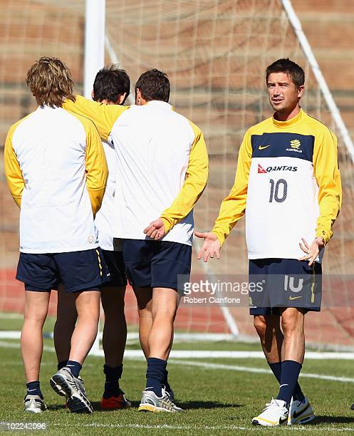 Harry Kewell of Australia gestures during an Australian Socceroos training session at Ruimsig Stadium on June 20 2010 in Roodepoort South Africa