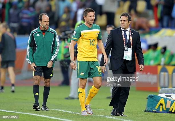 Harry Kewell of Australia is sent off for handling the ball on the line during the 2010 FIFA World Cup South Africa Group D match between Ghana and...
