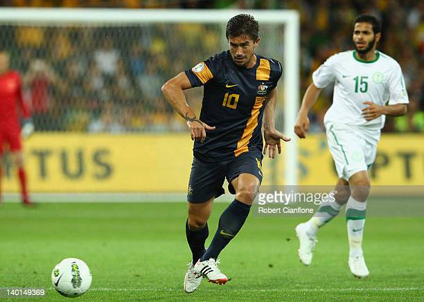 Harry Kewell of Australia kicks the ball during the Group D 2014 FIFA World Cup Asian Qualifier match between Australia and Saudi Arabia at AAMI Park...