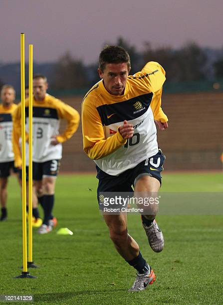 Harry Kewell of Australia performs a fitness drill during an Australian Socceroos training session at Ruimsig Stadium on June 16 2010 in Roodepoort...