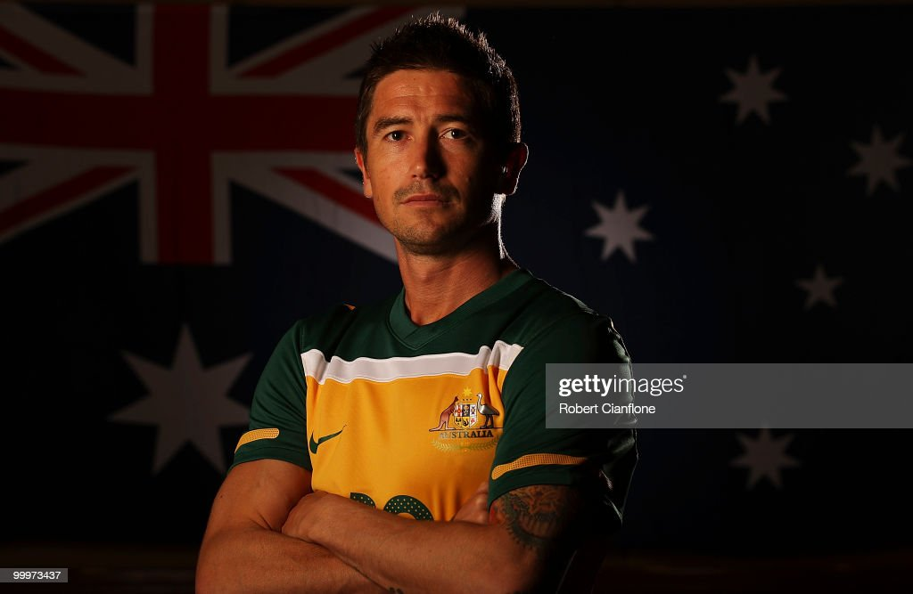 Harry Kewell of Australia poses for a portrait during an Australian Socceroos portrait session at Park Hyatt Hotel on May 19, 2010 in Melbourne, Australia.