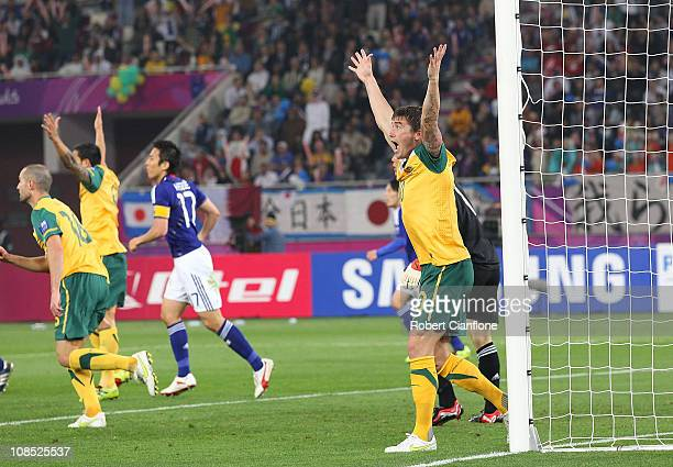 Harry Kewell of Australia reacts after a shot on goal was disallowed during the AFC Asian Cup Final match between the Australian Socceroos and Japan...