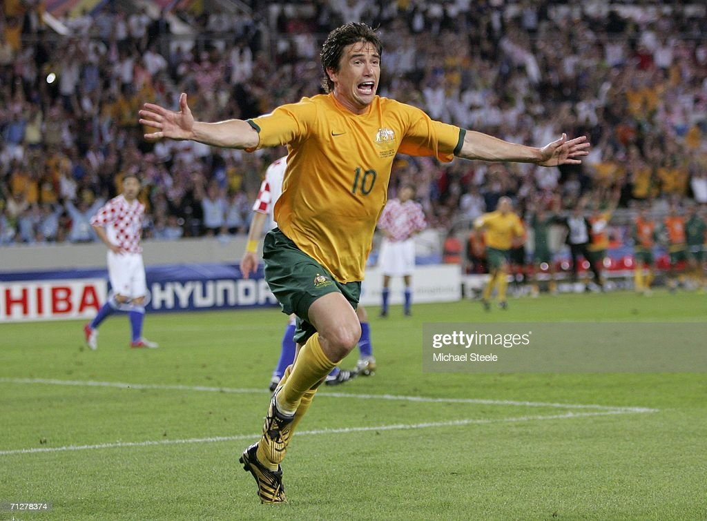 Harry Kewell of Australia turns away to celebrate, after scoring his team's second goal to level the scores at 2-2 during the FIFA World Cup Germany 2006 Group F match between Croatia and Australia at the Gottlieb-Daimler Stadium on June 22, 2006 in Stuttgart, Germany.