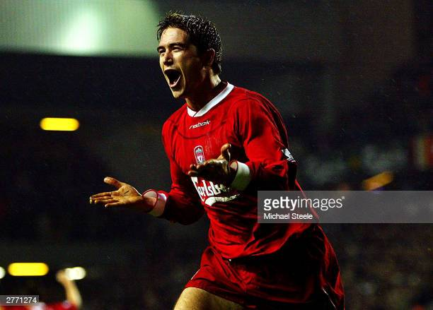 Harry Kewell of Liverpool celebrates after scoring the second goal during the FA Barclaycard Premiership match between Liverpool and Birmingham City...