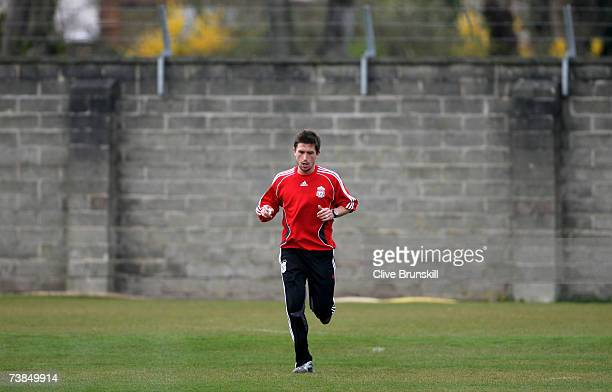Harry Kewell of Liverpool during training prior to the UEFA Champions League Quarter Final second leg match between Liverpool and PSV Eindhoven at...
