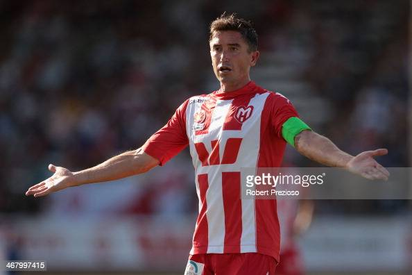 Harry Kewell of the Heart gestures during the round 18 ALeague match between Melbourne Heart and Perth Glory at Lavington Sports Ground on February 9...