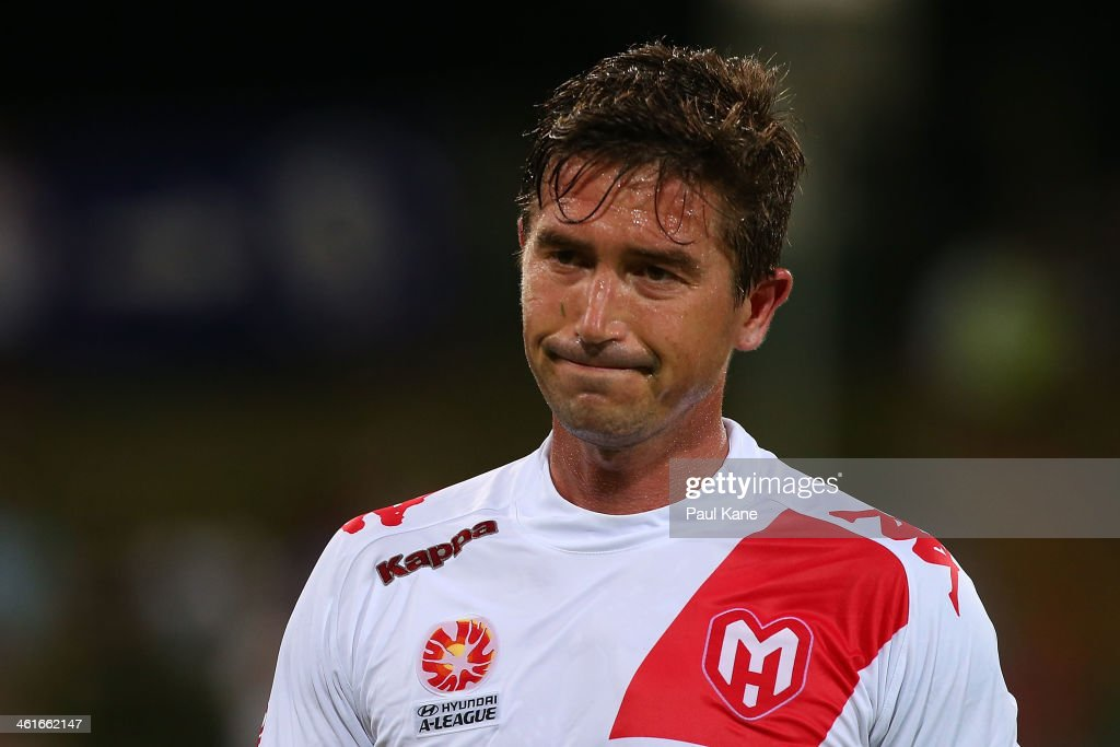 Harry Kewell of the Heart looks on after being substituted out of the game during the round 14 A-League match between Perth Glory and the Melbourne Heart at nib Stadium on January 10, 2014 in Perth, Australia.