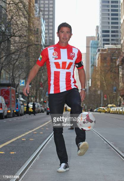 Harry Kewell of the Heart poses during a press conference to announce the Melbourne Heart ALeague captain at the Westpac Collins St branch on...