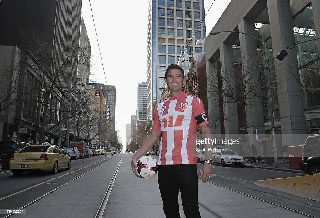 Harry Kewell of the Heart poses during a press conference to announce the Melbourne Heart A-League captain at the Westpac Collins St branch on September 4, 2013 in Melbourne, Australia.