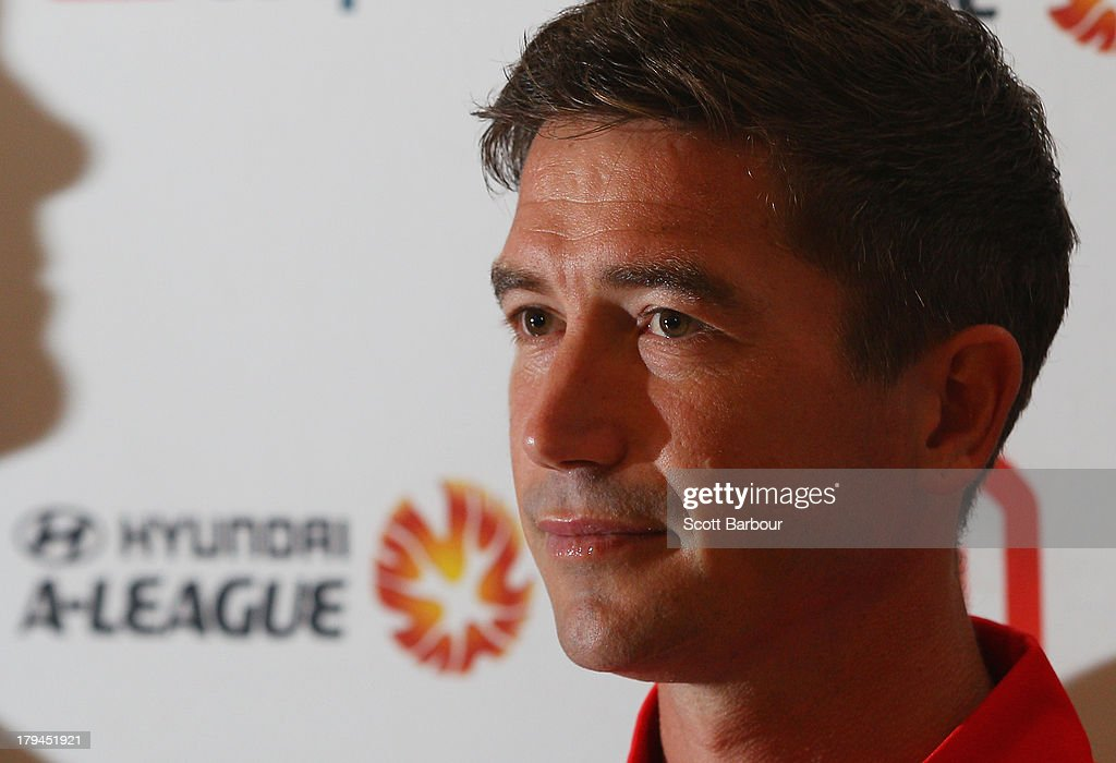 Harry Kewell of the Heart speaks during a press conference to announce the Melbourne Heart A-League captain at the Westpac Collins St branch on September 4, 2013 in Melbourne, Australia.