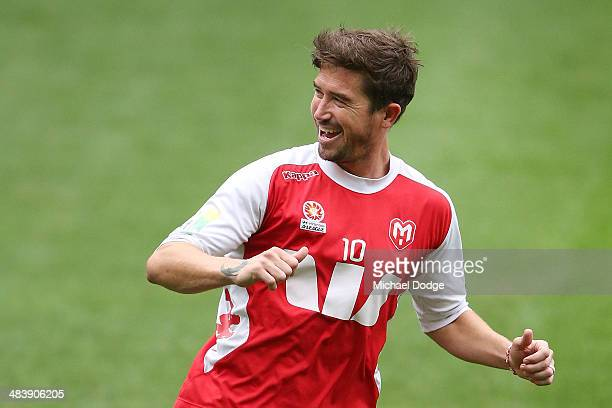 Harry Kewell reacts after kicking the ball for a goal during a Melbourne Heart ALeague training session at AAMI Park on April 11 2014 in Melbourne...