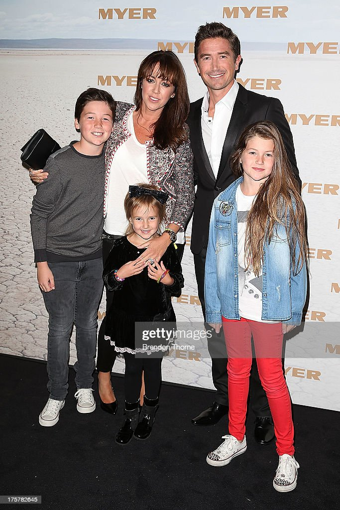 Harry Kewell, Sheree Murphy and family arrive at the Myer Spring/Summer 2014 Collections Launch at Fox Studios on August 8, 2013 in Sydney, Australia.