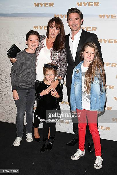 Harry Kewell Sheree Murphy and family arrive at the Myer Spring/Summer 2014 Collections Launch at Fox Studios on August 8 2013 in Sydney Australia