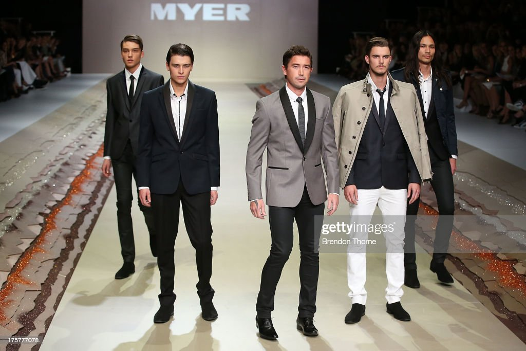 <a gi-track='captionPersonalityLinkClicked' href=/galleries/search?phrase=Harry+Kewell&family=editorial&specificpeople=202950 ng-click='$event.stopPropagation()'>Harry Kewell</a> showcases designs by Politix at the Myer Spring/Summer 2014 Collections Launch at Fox Studios on August 8, 2013 in Sydney, Australia.