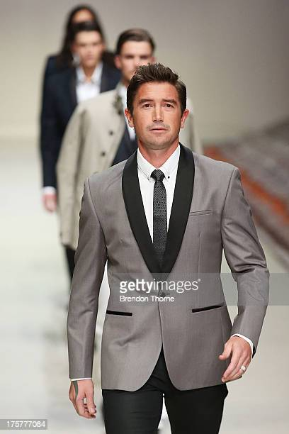 Harry Kewell showcases designs by Politix at the Myer Spring/Summer 2014 Collections Launch at Fox Studios on August 8 2013 in Sydney Australia