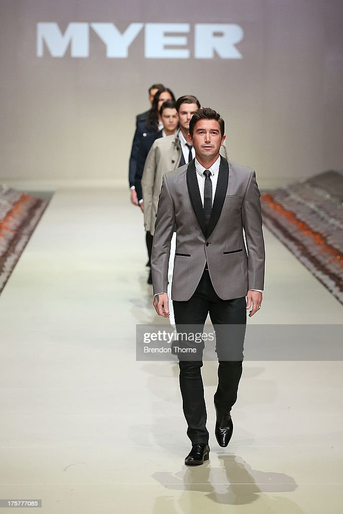Harry Kewell showcases designs by Politix at the Myer Spring/Summer 2014 Collections Launch at Fox Studios on August 8, 2013 in Sydney, Australia.