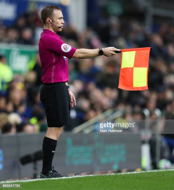Harry lennard assistant referee during the Premier League match between Everton and Hull City at Goodison Park on March 18 2017 in Liverpool England
