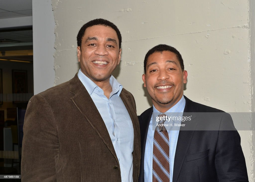 Harry Lennix and David White attend the opening of SAG Foundation Actors Center In New York on April 30 2014 in New York City