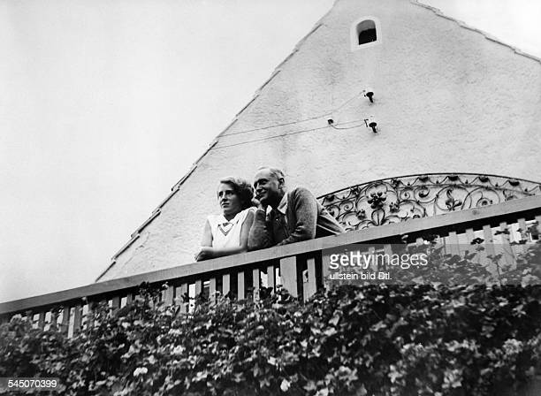Harry Liedtke *12101882 Actor Germany with Christa Tordy on the balcony of his summer cottage at the Scharmützelsee lake near Berlin 1930...