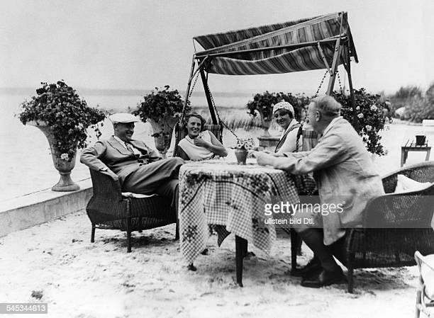 Harry Liedtke *12101882 Actor Germany with Hans Wassermann Käthe Dorsch and Christa Tordy on the terrace of his summer cottage at the Scharmützelsee...