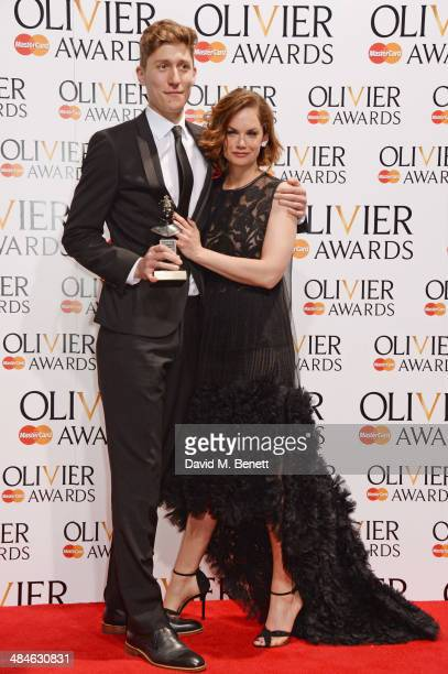 Harry Mackrill accepting the award for Outstanding Achievement In An Affiliate Theatre for 'Handbagged' and Ruth Wilson pose in the press room at the...