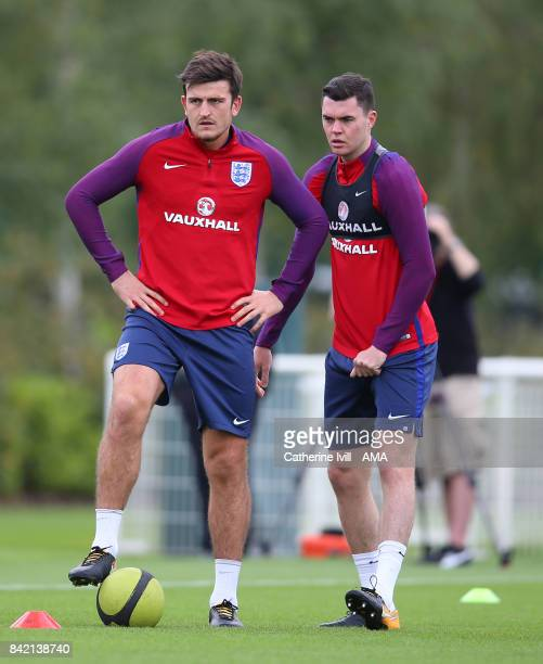 Harry Maguire and Michael Keane of England during the England Training Session on September 3 2017 in Enfield England