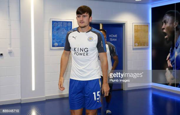 Harry Maguire arrives ahead of the Premier League match between Leicester City and Brighton and Hove Albion at King Power Stadium on August 19 2017...