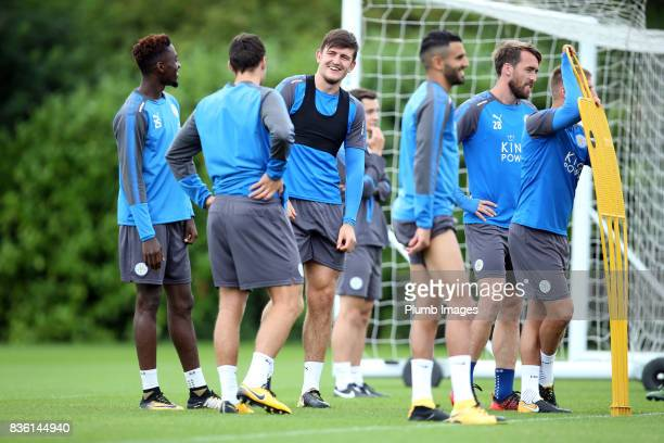 Harry Maguire during the Leicester City training session at Belvoir Drive Training Complex on August 21 2017 in Leicester United Kingdom