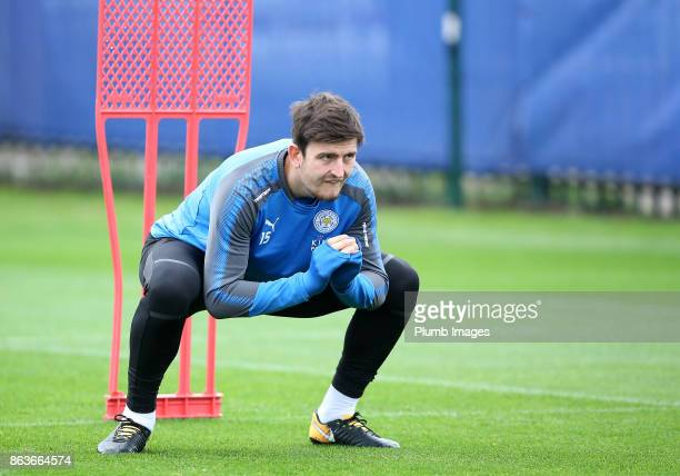 Harry Maguire during the Leicester City training session at Belvoir Drive Training Complex on October 20 2017 in Leicester United Kingdom