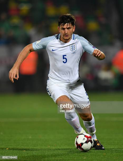 Harry Maguire of England controls the ball during the FIFA 2018 World Cup Group F Qualifier between Lithuania and England at LFF Stadium on October 8...