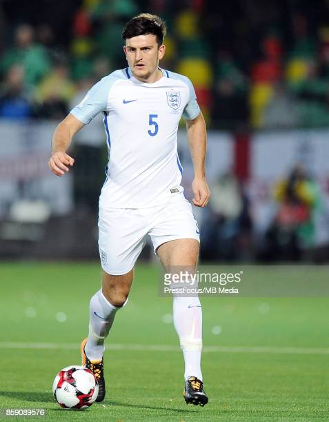Harry Maguire of England in action during the FIFA 2018 World Cup qualifier between Lithuania and England on October 8 2017 in Vilnius Lithuania
