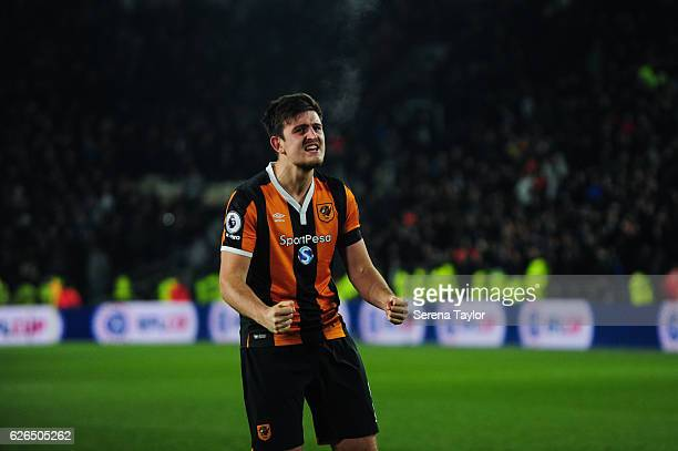 Harry Maguire of Hull City celebrates as Hull City win the EFL Cup Quarter Final between Hull City and Newcastle United at KCOM Stadium on November...