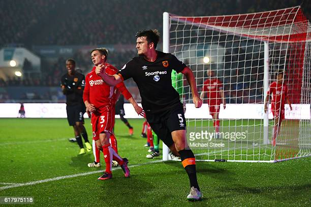 Harry Maguire of Hull City celebrates scoring his sides first goal during the EFL Cup fourth round match between Bristol City and Hull City at Ashton...