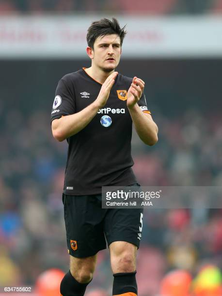 Harry Maguire of Hull City during the Premier League match between Arsenal and Hull City at Emirates Stadium on February 11 2017 in London England