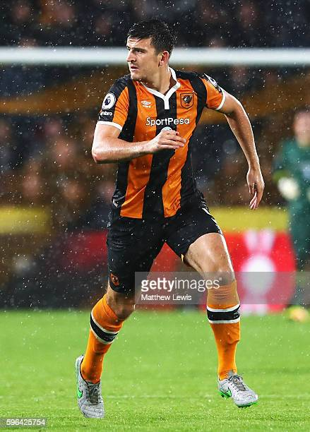 Harry Maguire of Hull City in action during the Premier League match between Hull City and Manchester United at KCOM Stadium on August 27 2016 in...